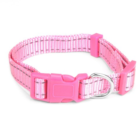 BrybellyHoldings ACLR-204 Large Adjustable Reflective Dog Collar - Pink