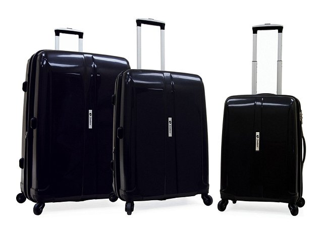 Samboro L803BKS3 Shuttle Hardside Luggage Expandable Spinner 3 Pieces Set, Black