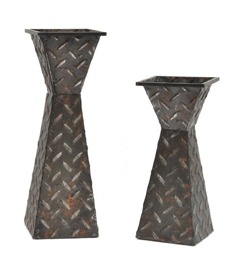 Crestview Collection CVCHI664 Diamond Plated Candleholders