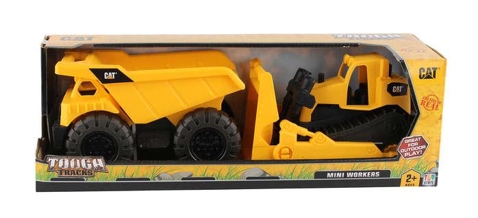 Cat Motorized Items CAT82087 Cat Mini Worker Dump Truck & Bulldozer, 2 Pack