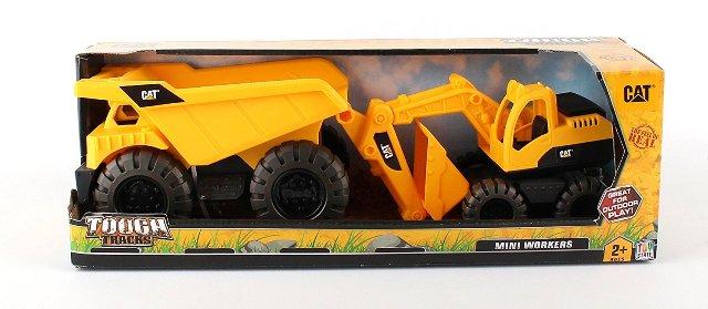 Cat Motorized Items CAT82088 Cat Mini Worker Dump Truck & Excavator, 2 Pack