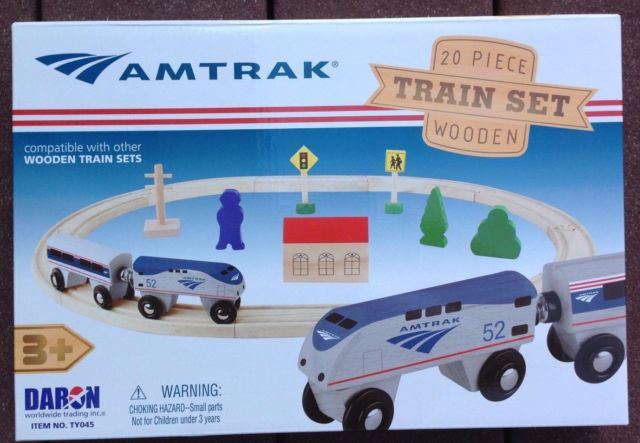 Amtrak Items TY045 Amtrak Wooden Railway Set, 20 Pieces