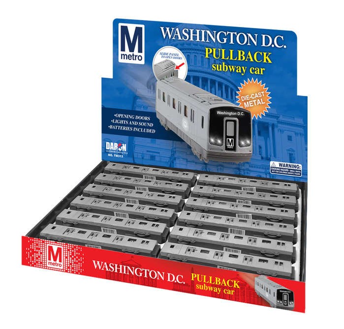 Diecast Pullbacks TM373 Washington Dc Metro Subway Pullback Display, 12 Pieces