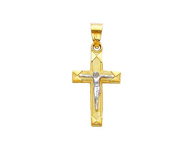Precious Stars SELGPT004410 14k Two-Tone Gold Crucifix Religious Cross Charm Pendant
