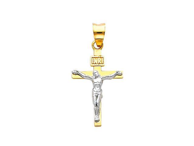 Precious Stars SELGPT004510 14k Two-Tone Gold INRI Crucifix Religious Cross Charm Pendant