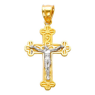 Precious Stars SELGPT005010 14k Two-Tone Gold Scalloped Edges Crucifix Religious Cross Charm Pendant