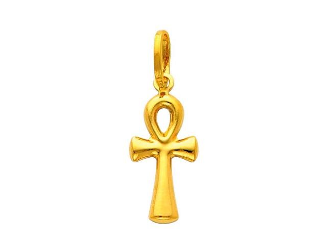 Precious Stars SELGPT013810 14k Yellow Gold Small Egyptian Ankh Charm Pendant