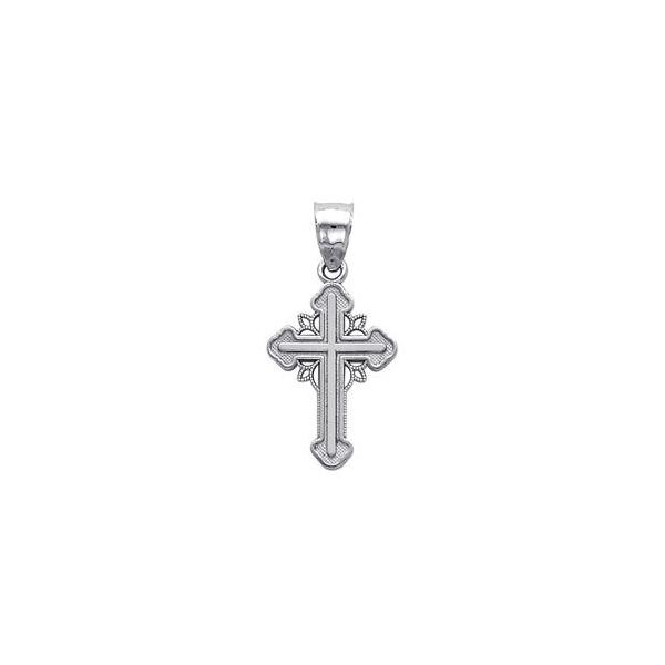 Precious Stars SELGPT0139W10 14k White Gold Ornate Religious Cross Charm Pendant