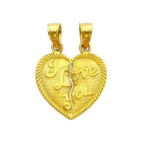 Precious Stars SELGPT040810 14k Yellow Gold Two Halves Make a Whole Heart I Love You Charm Pendants
