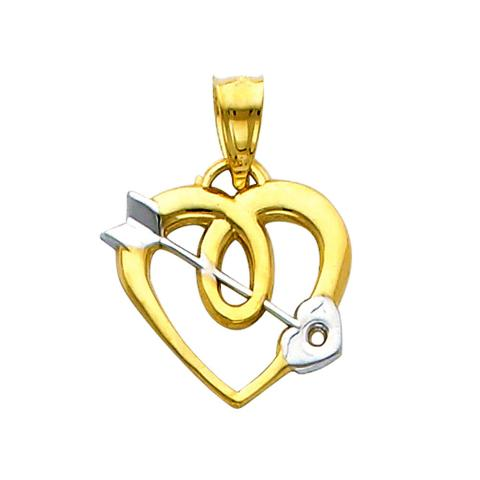 Precious Stars SELGPT041910 14k Two-Tone Gold Heart with Cupids Arrow Charm Pendant
