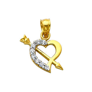 Precious Stars SELGPT042010 14k Two-Tone Gold Small Cubic Zirconia Heart with Cupids Arrow Charm Pendant