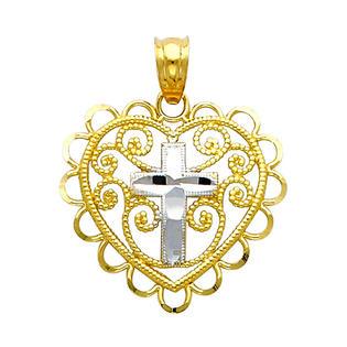 Precious Stars SELGPT043110 14k Two-Tone Gold Ornate Filigree Heart with Religious Cross Charm Pendant