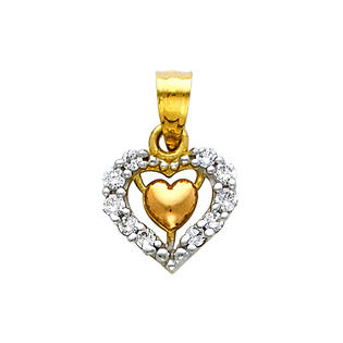 Precious Stars SELGPT043910 14k Two-Tone Gold Extra Small Cubic Zirconia Heart Charm Pendant