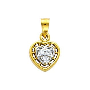 Precious Stars SELGPT044010 14k Yellow Gold Extra Small Cubic Zirconia Heart Charm Pendant