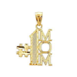 Precious Stars SE-PD-C1835 14k Yellow Gold Number 1 Mom Mothers Day Pendant Charm