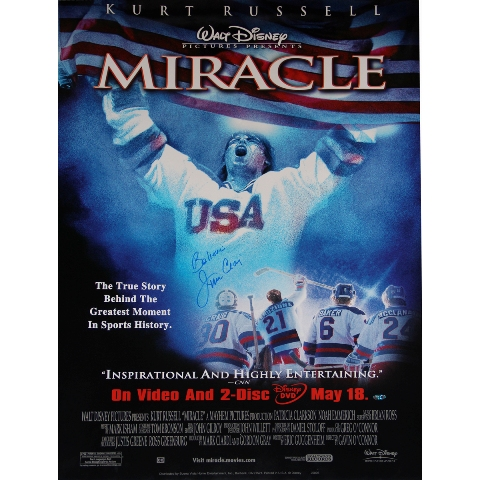 Steiner Sports CRAIPOS026000 Jim Craig Signed 26 x 40 USA Hockey Miracle Poster with Believe Inscribed