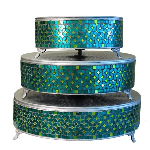 ecWorldEnterprises 7718932 Handcrafted Turquoise Mosaic Round Cake Stand, 3-Piece