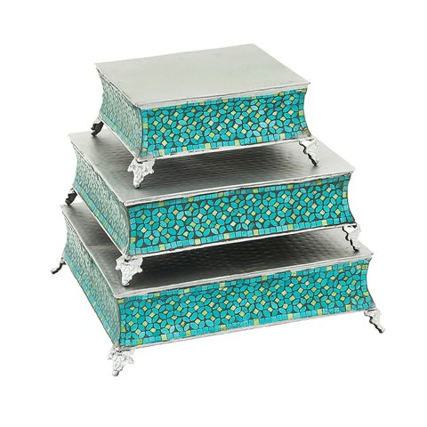 ecWorldEnterprises 7728932 Handcrafted Turquoise Mosaic Square Cake Stand - 3-Piece