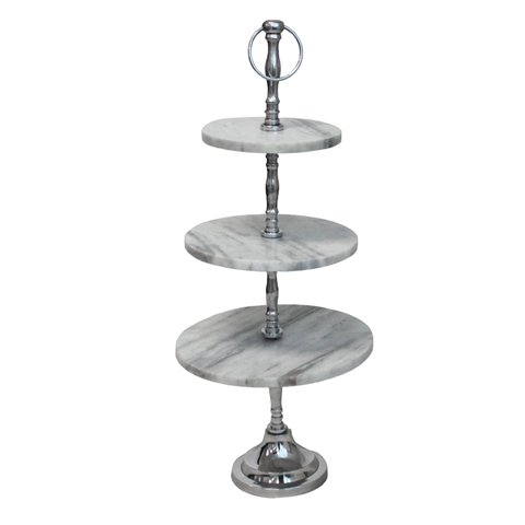 ecWorldEnterprises 7744574 Marble 3-Tier Round Display Cake And Dessert Stand