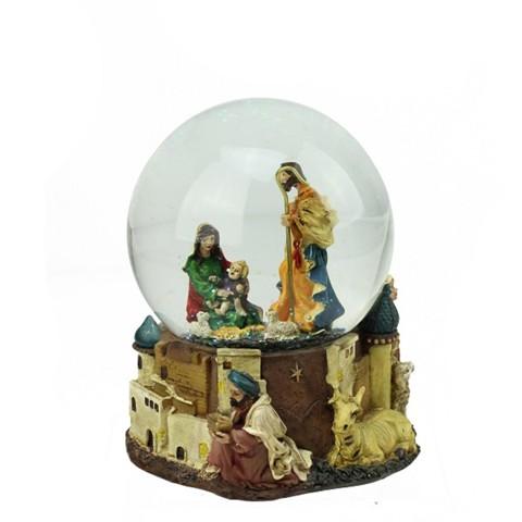 NorthLight 5.5 in. Nativity Scene Religious Inspirational Musical Christmas Snow Globe Glitterdome