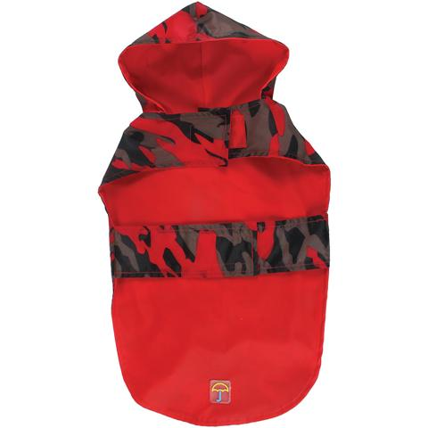 BH Pet Gear JW3001M-1447 Jelly Wellies Camouflage Raincoat Medium, Red - 15 in.