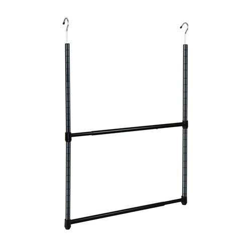 Oceanstar Design Group ACR1545B 2-Tier Portable Adjustable Closet Hanger Rod, Black