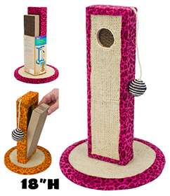 Penn Plax CATF37 Cat-Life Neon-Leopard Print Activity Centers 18 in. Tower & Pink Leopard Print