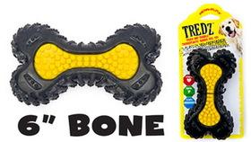 Penn Plax FT11 Rubber Tredz Bone Dog Toy - 6 in.