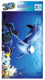 Penn Plax LB2 Dolphins 3d Depth Aquarium Background 10 Gallon