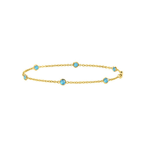 Fine Jewelry Vault UBYBR6060Y14UBT By The Yard Bracelet Link Swiss Created Blue Topaz with 0.60 Carat in 14K Yellow Gold 7