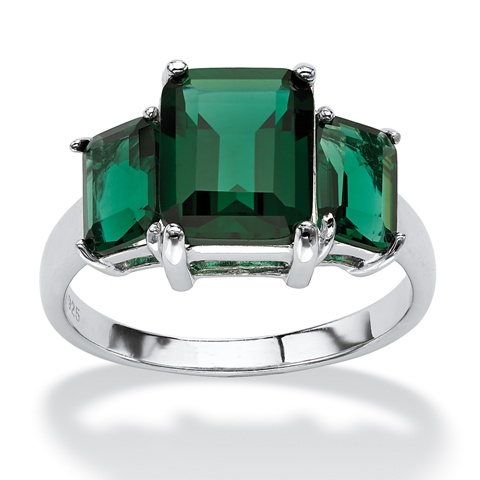 PalmBeach Jewelry 328948 Emerald-Cut Green Crystal Mount St. Helens Inspired Ring in Sterling Silver Size 8