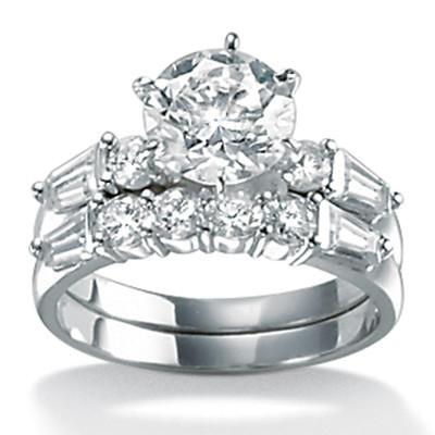 PalmBeach Jewelry 387948 2 Piece 3.60 TCW Round Cubic Zirconia Bridal Ring Set in 10k White Gold Size 8