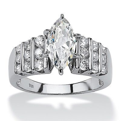 PalmBeach Jewelry 393908 2.84 TCW Marquise-Cut Cubic Zirconia Engagement Anniversary Ring in Platinum over Sterling Silver Size 8