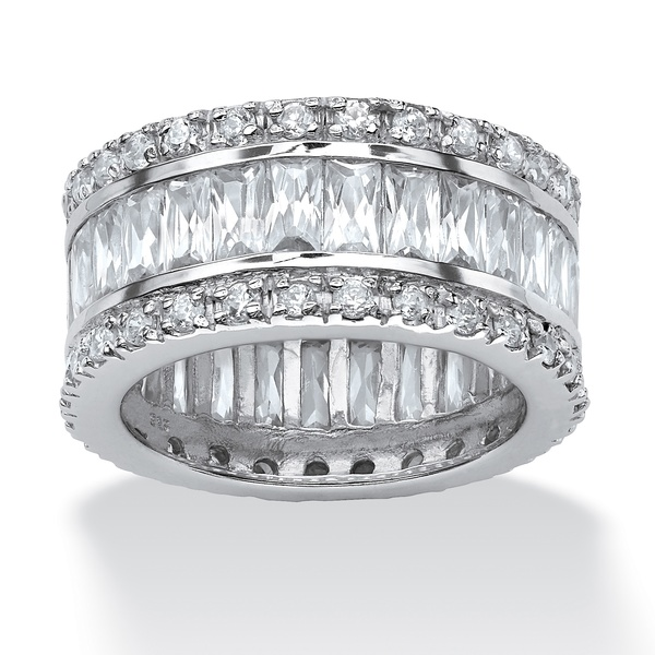 PalmBeach Jewelry 394048 9.34 TCW Emerald-Cut Cubic Zirconia Eternity Band in Platinum over Sterling Silver Size 8