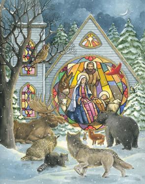 Vermont Christmas BB7065X Stained Glass Window Advent Calendar 5 Pack
