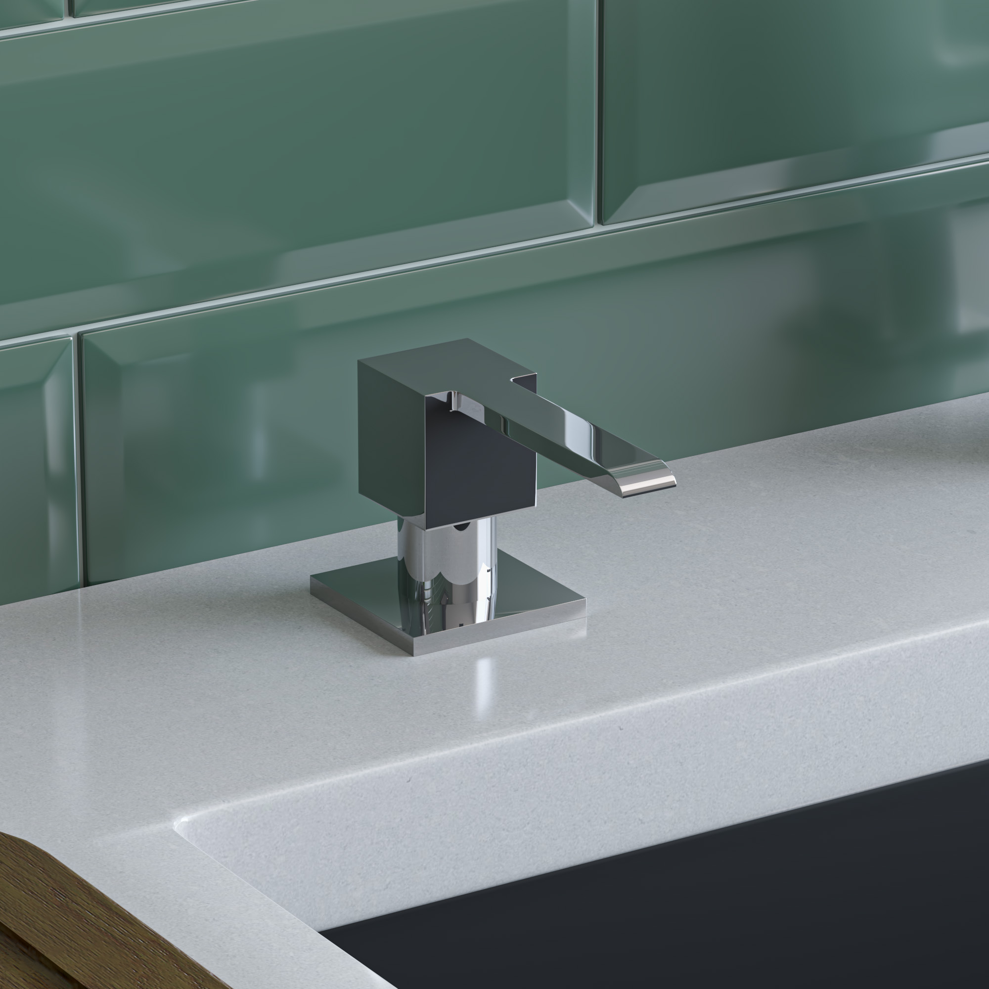 ALFI Brand AB5007-PSS Modern Square Polished Stainless Steel Soap Dispenser