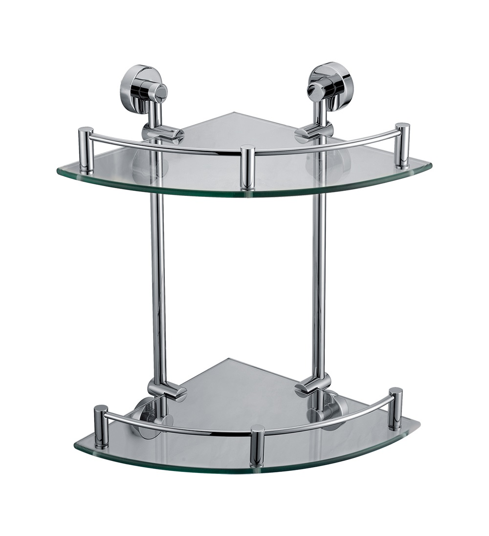 ALFI Brand AB9548 Corner Mounted Double Glass Shower Shelf Bathroom Accessory, Polished Chrome