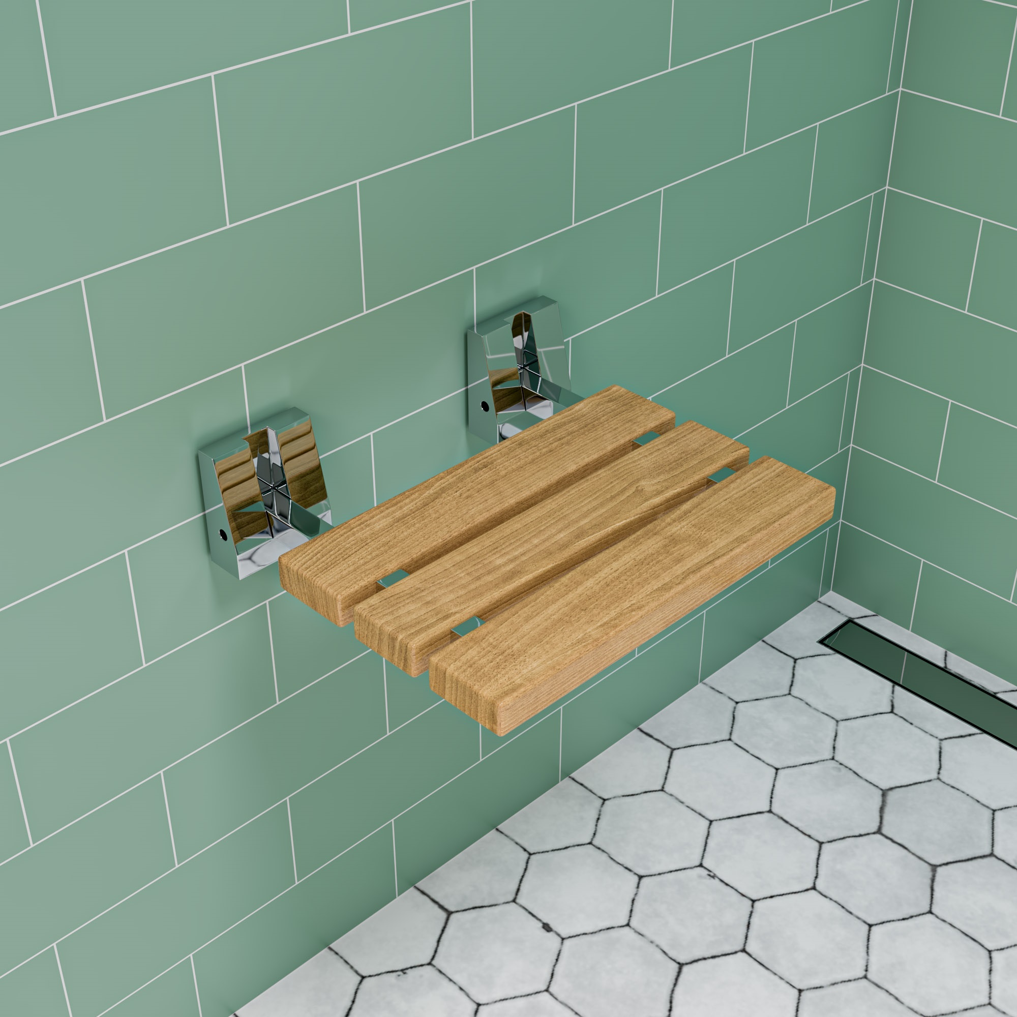 Alfi Brand ABS16S-PC 16 in. Wall-Mounted Shower Seat with Polished Chrome Joints in Natural Wood