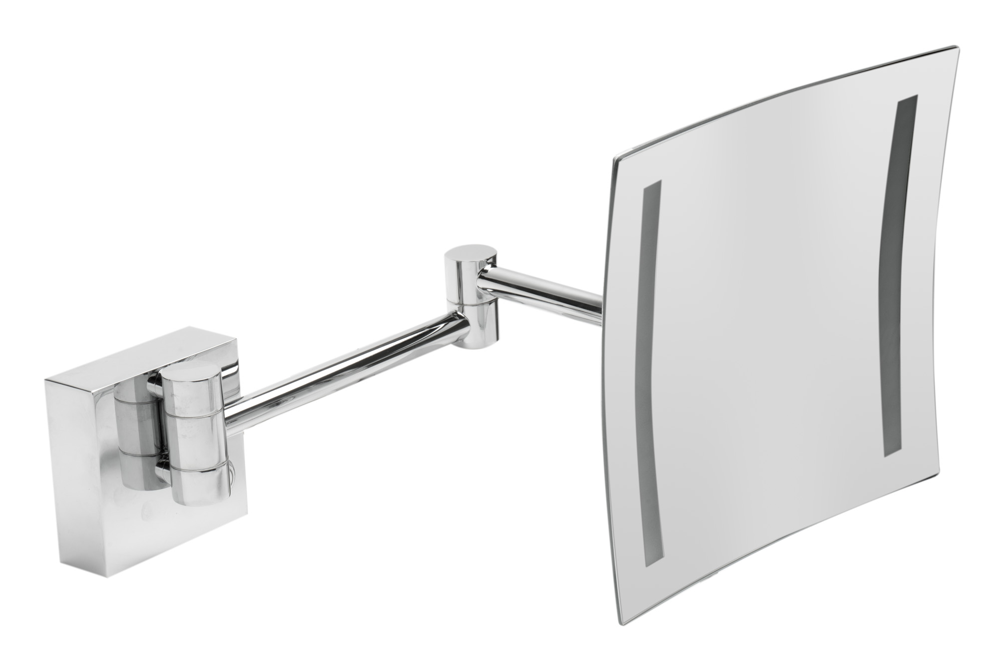 Alfi Brand ABM8WLED-PC 8 in. Wall Mount Square 5x Magnifying Cosmetic Mirror with Light - Polished Chrome