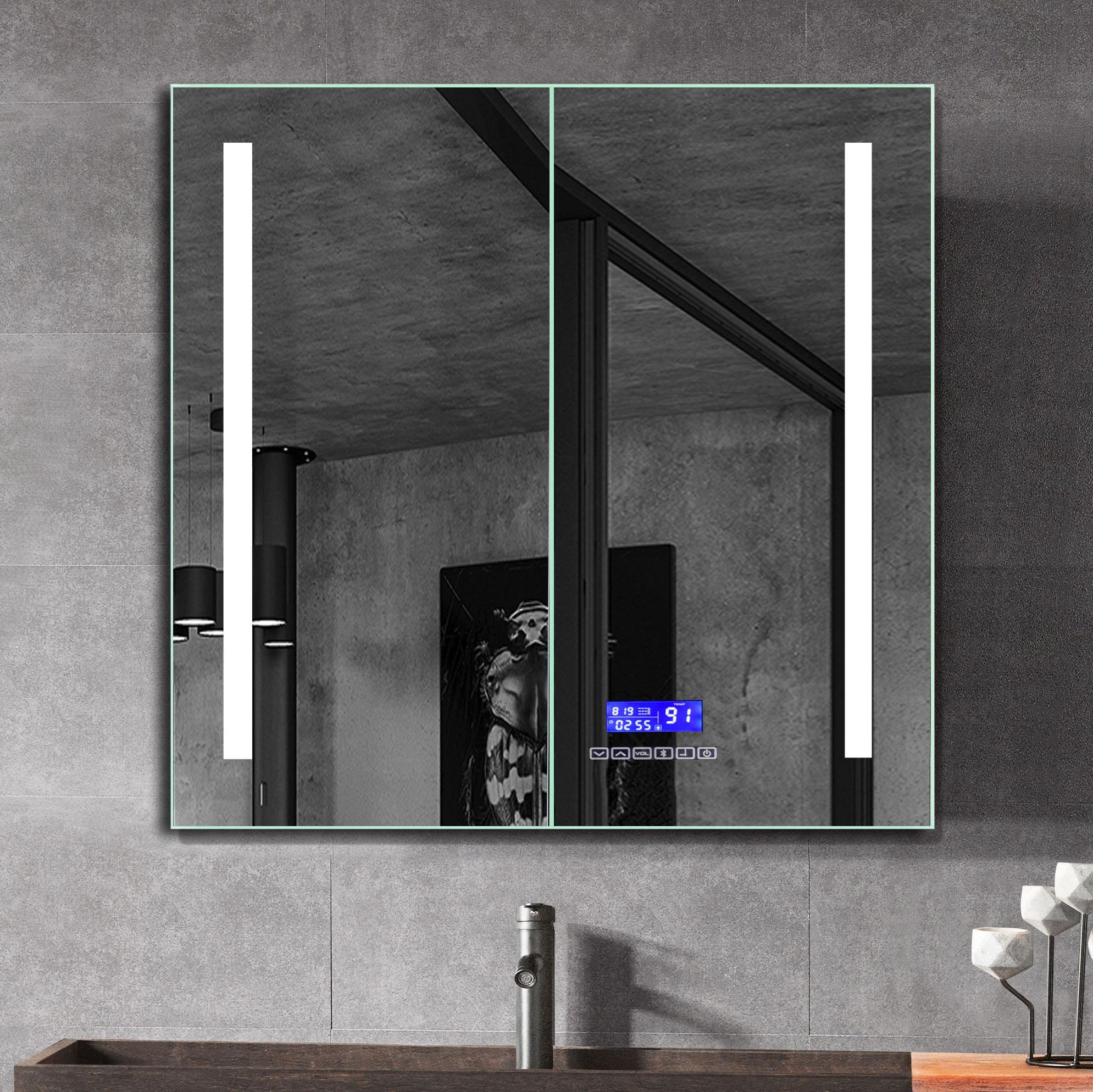 ALFI ABMC2630BT 26 x 30 in. Double Door LED Light Bluetooth Medicine Cabinet, Grey