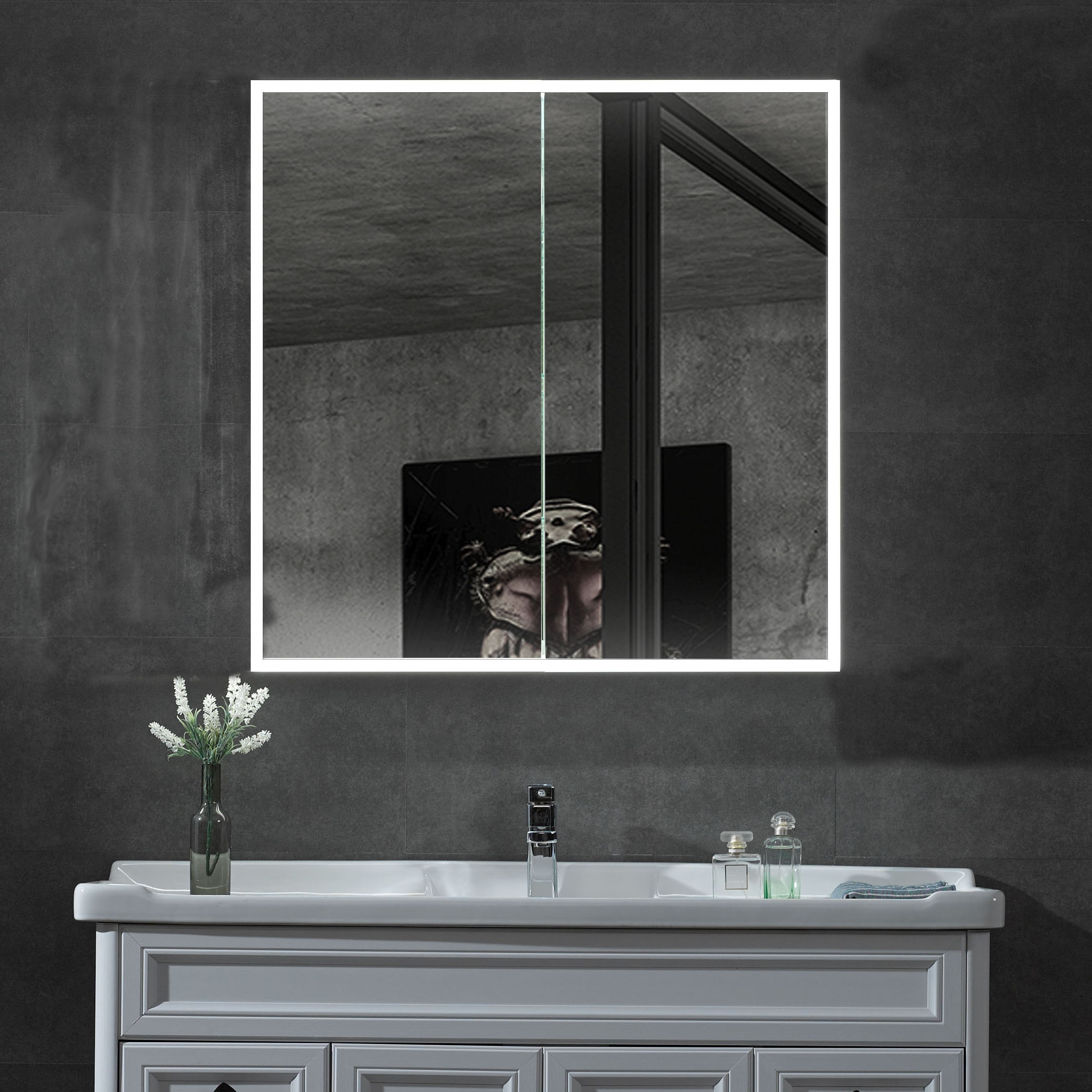 ALFI ABMC3630 36 x 30 in. Double Door LED Light Medicine Cabinet, Grey