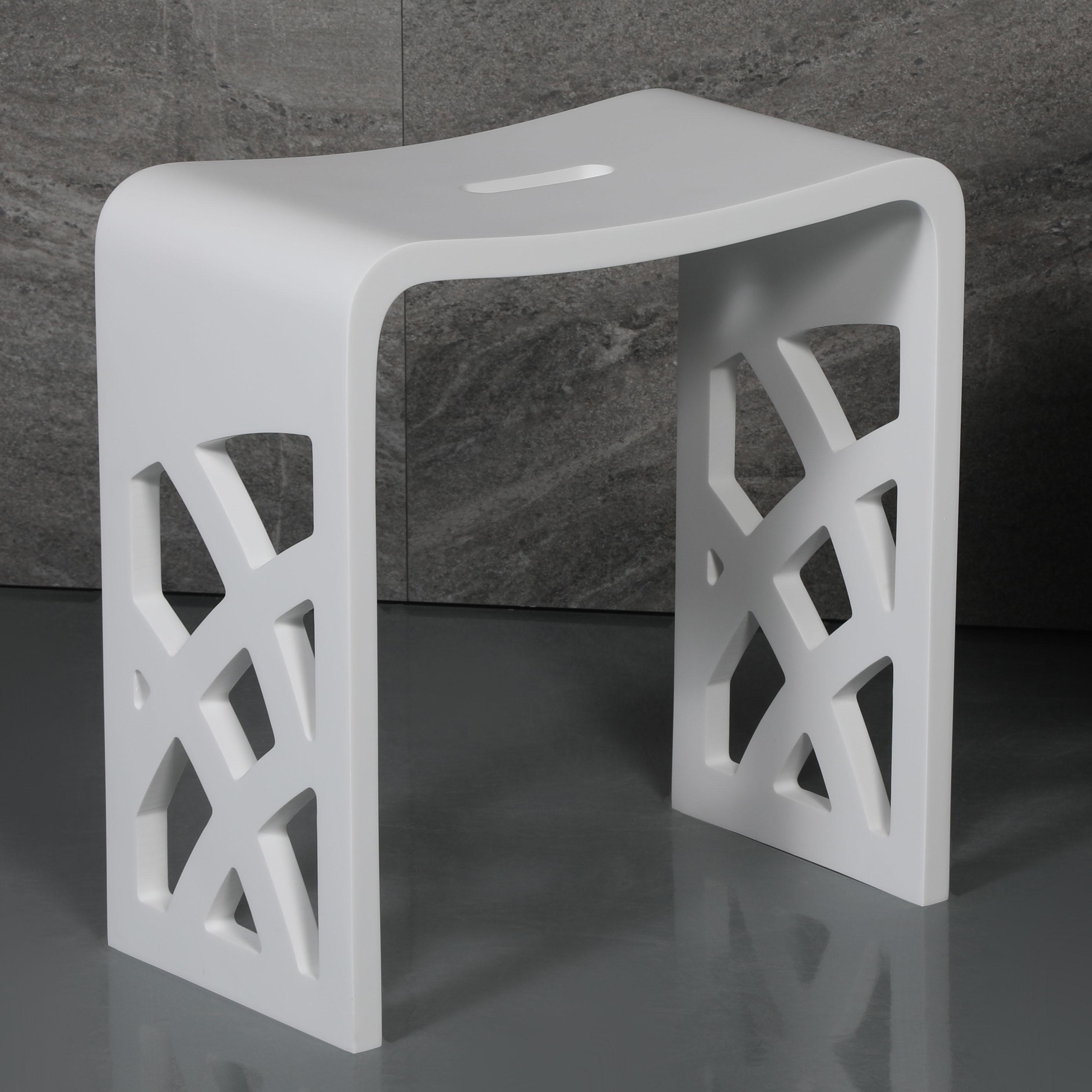 ALFI ABST88 Designer Solid Surface Resin Bathroom & Shower Stool, White Matte