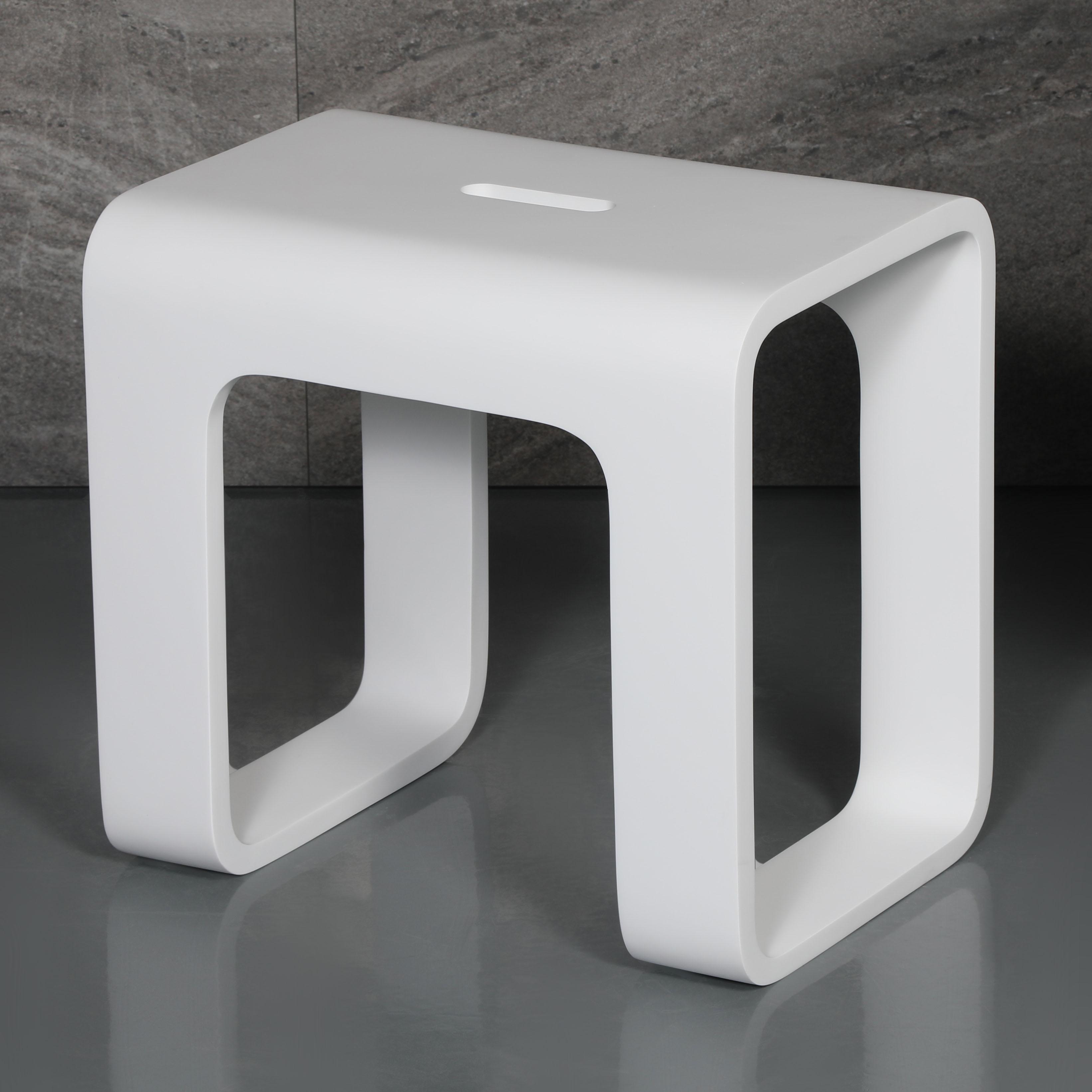 ALFI ABST99 Solid Surface Resin Bathroom & Shower Stool, White Matte