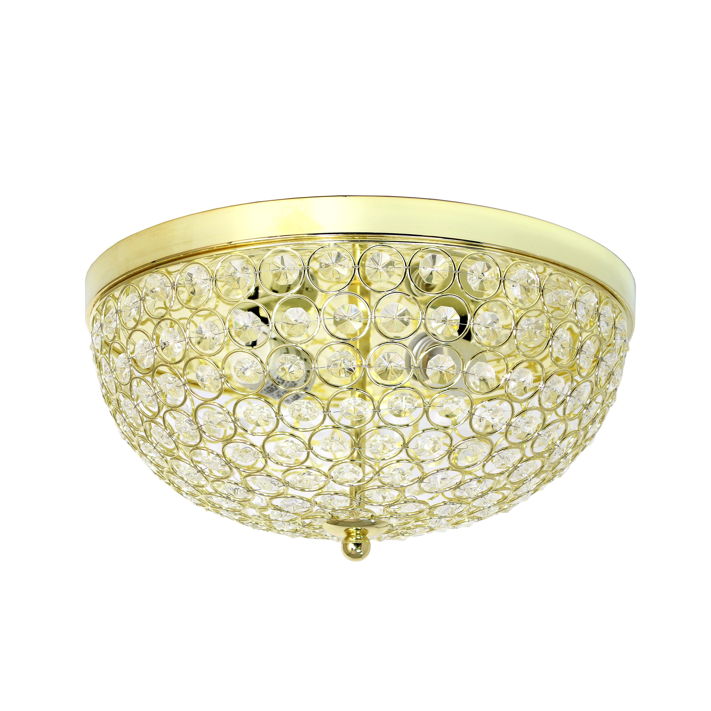 Elegant Designs FM1000-GLD 2 Elipse Crystal Flush Mount Ceiling Light - Gold