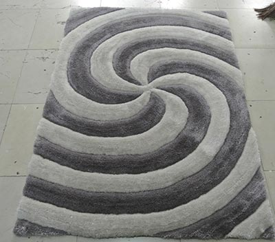 3d804-silver-8x11 8 x 11 in. 3 Dimension Hand Carved Shag Rug  Silver
