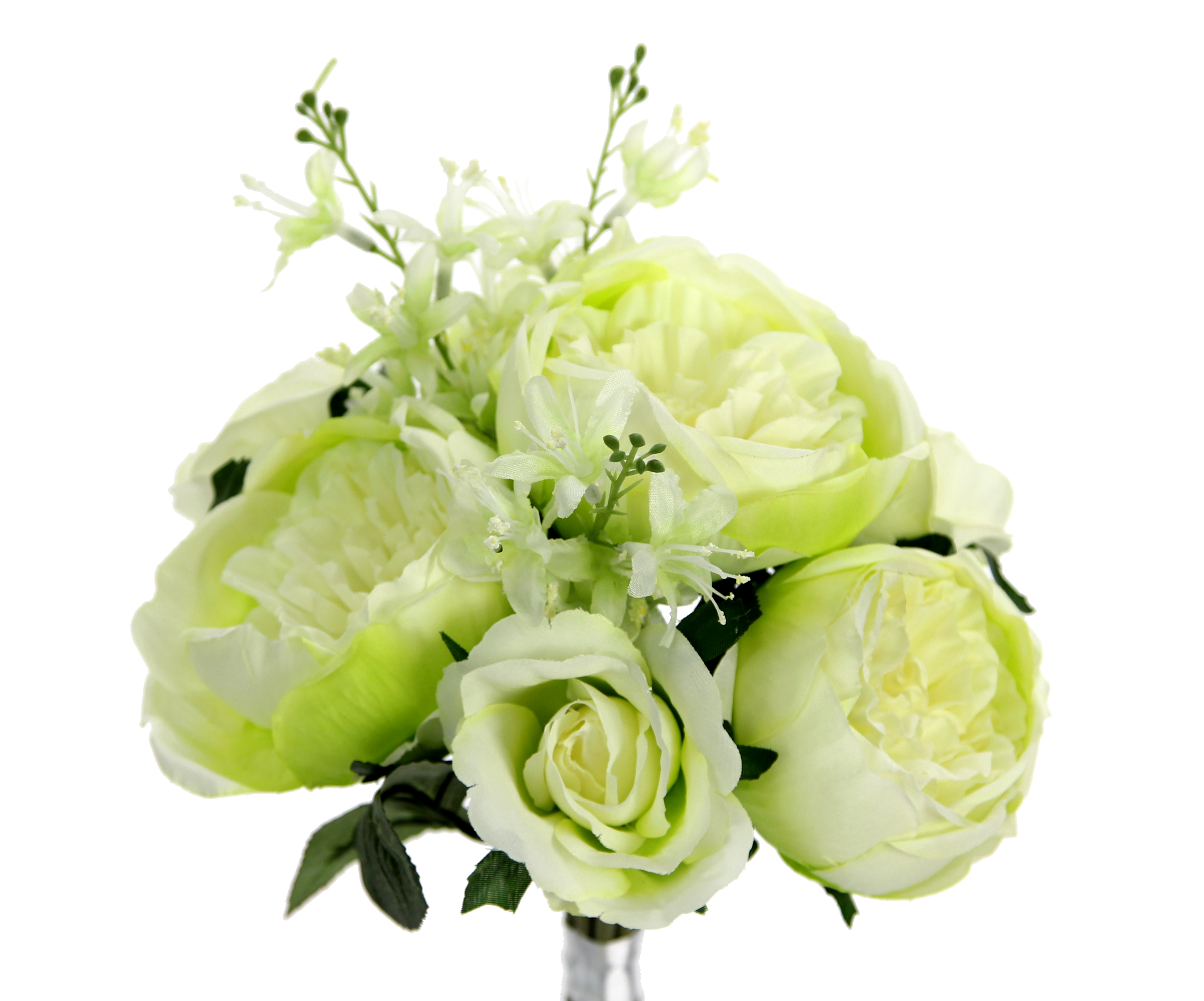 Admired By Nature GPB8360-CM - GN 7 Stems Beautiful Stylish Faux English Rose & Rose Bud Bouquet  Cream & Green