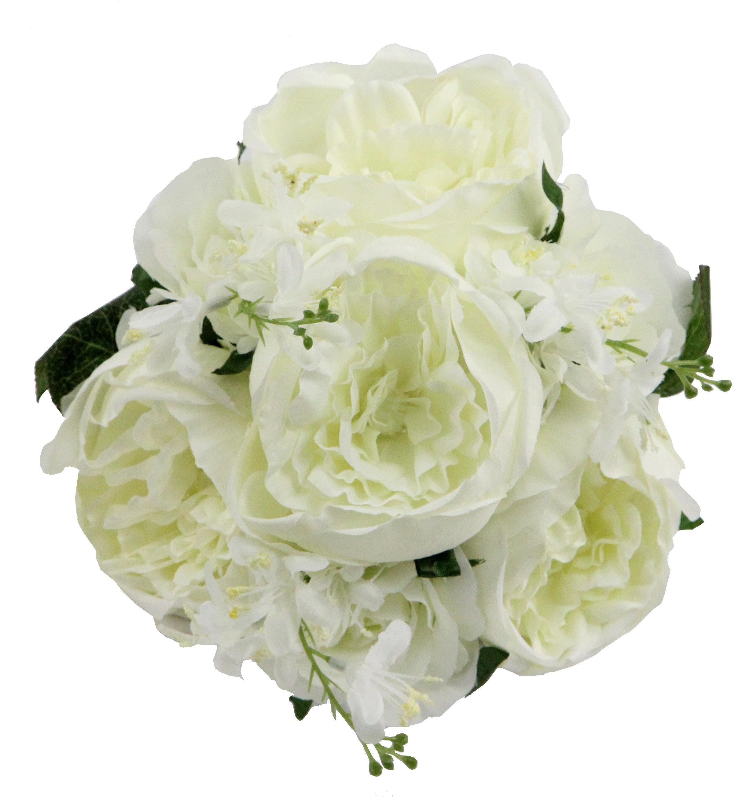 Admired By Nature GPB8360-CREAM 7 Stems Beautiful Stylish Faux English Rose & Rose Bud Bouquet  Cream