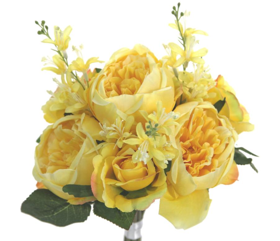 Admired By Nature GPB8360-YELLOW 7 Stems Beautiful Stylish Faux English Rose Rose Bud Bouquet#44; Yellow