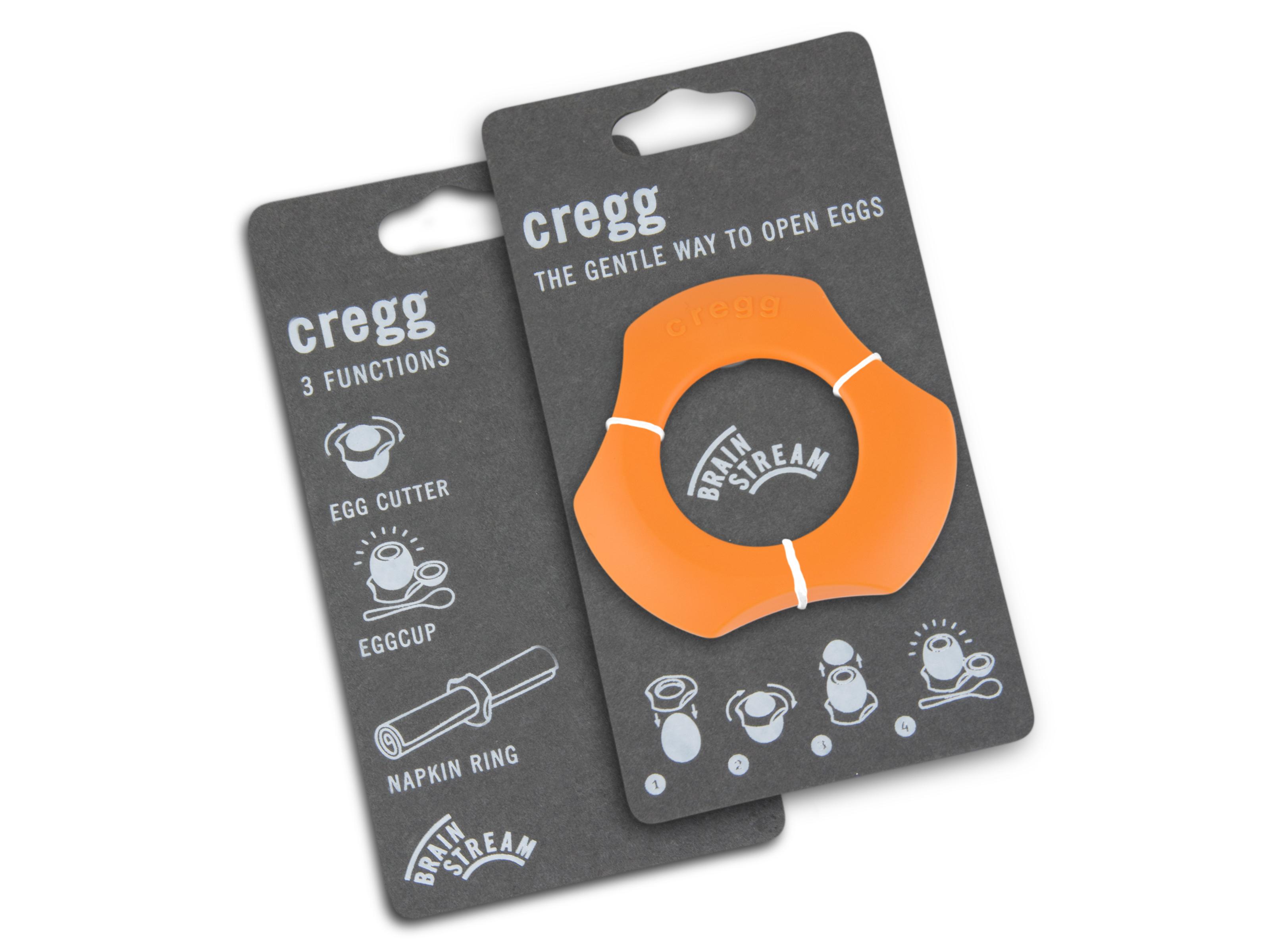 Cregg A001276 Single Pack & Eggshell Cutter Eggcup Napkin Ring, Orange