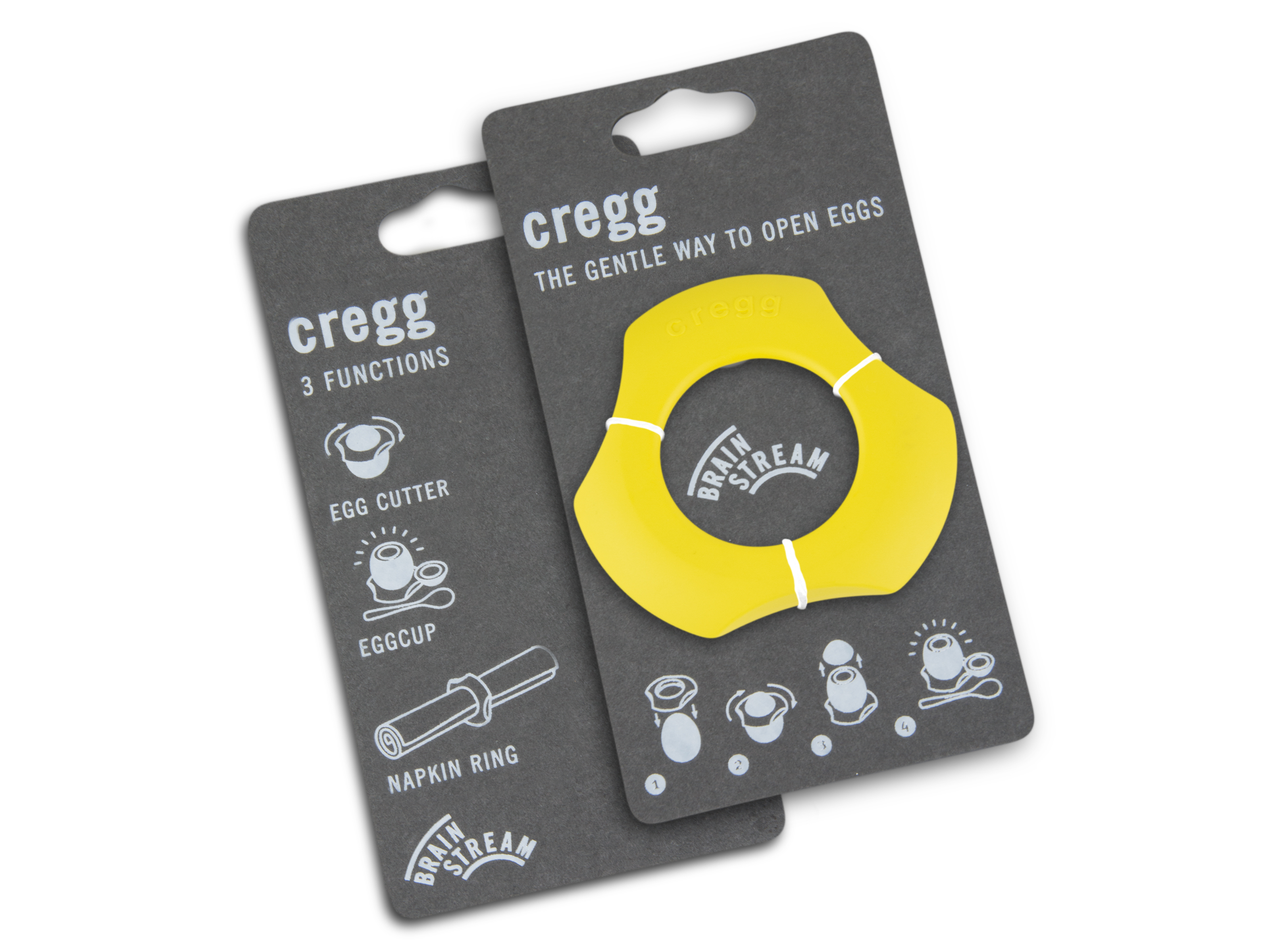 Cregg A001279 Single Pack & Eggshell Cutter Eggcup Napkin Ring, Yellow